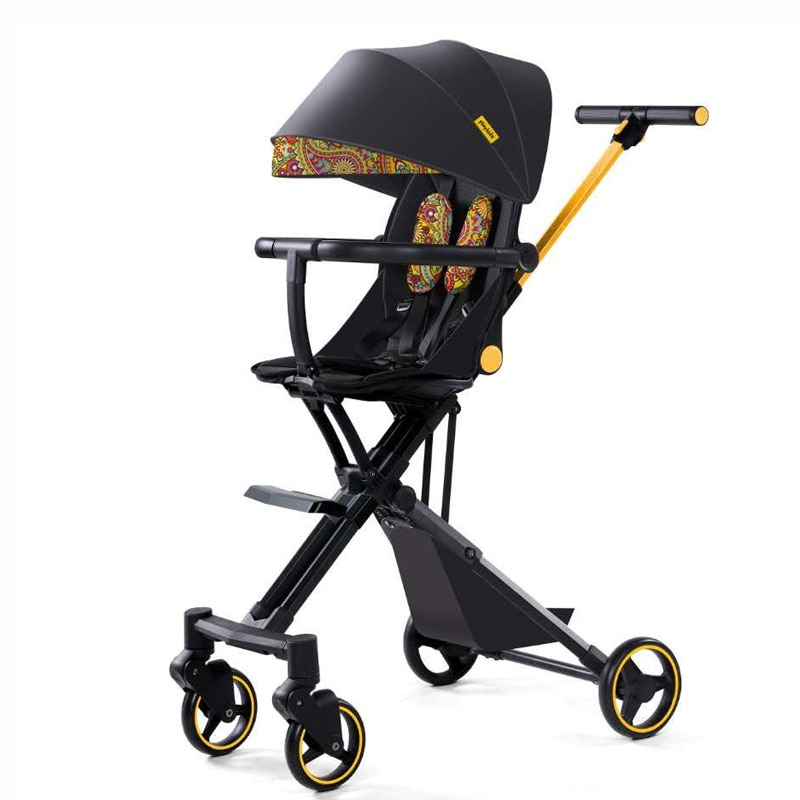 LazyChild Fashion Foldable Infant Baby Car Trolley With Awning Boarding Luxurious Portable Baby Carriage 2021 New Arrival enlarge