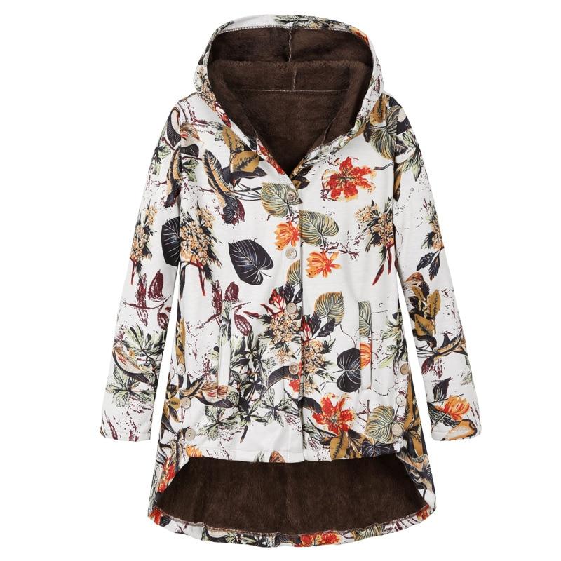 Зимнее женское пальто на пуговицах, плюшевый принт, с длинными рукавами, неравномерное, толстое, средней длины, хлопковое пальто Femme Wm *