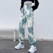 Tie-Dyed Sports Pants Female Spring and Autumn High Waist