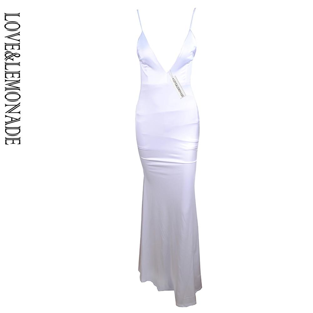Amor e limonada branco v-neck halter boycon vestido longo tb 8793