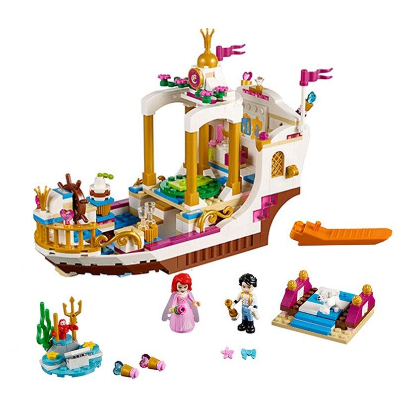 Princess Ariel's Royal Celebration Boat Building Blocks Bricks Mermaid Ariel Compatible Lepining Figures Model Toys Gift