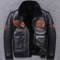 back season original ecology one air uniform jacket short fund genuine clothing male leather man biker coat winter