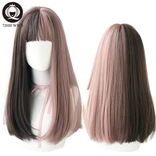 7JHH-peluca larga Remy con flequillo para mujer, sintético de Lolita ombré postizo, color negro y marrón, de alambre de alta temperatura, resistente al calor, para Cosplay