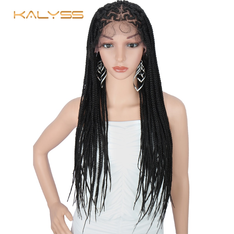 """Kalyss 29 Inches Hand-Braided 13X6"""" Lace Frontal Slant Side Part Cornrow Braids Wigs with Baby Hair for Black Women"""