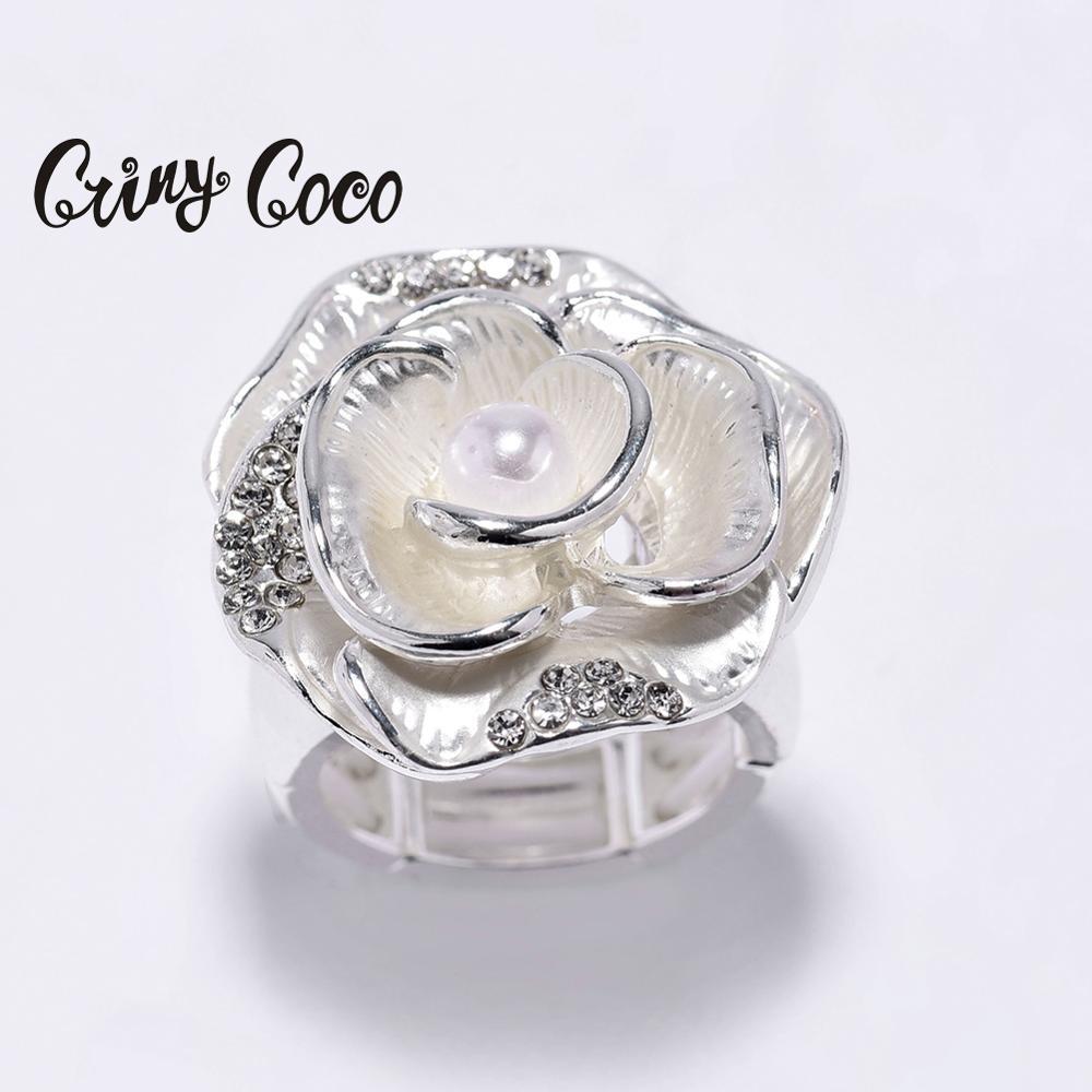 Cring coco anéis femininos de metal, anel de flores para mulheres, cor prata, esmalte, noivado 2020