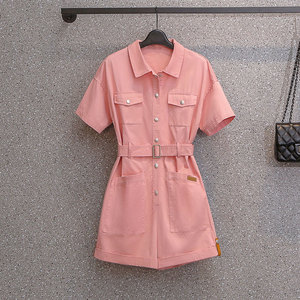 EHQAXIN Plus Size Womens Tooling Jumpsuit Fashion Summer New Style Button Lapel Short-Sleeved Jumpsuit With Belt Pocket M-2XL