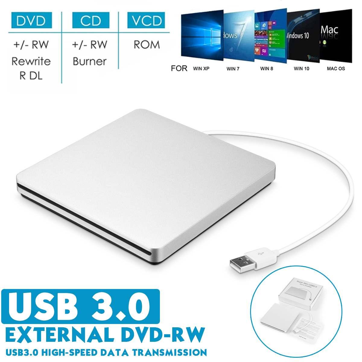 USB3.0 externa de CD/DVD Burner DVD-ROM óptico reproductor de disco carga ranura portátil para Windows 7/8/10 Mac Notebook conductor