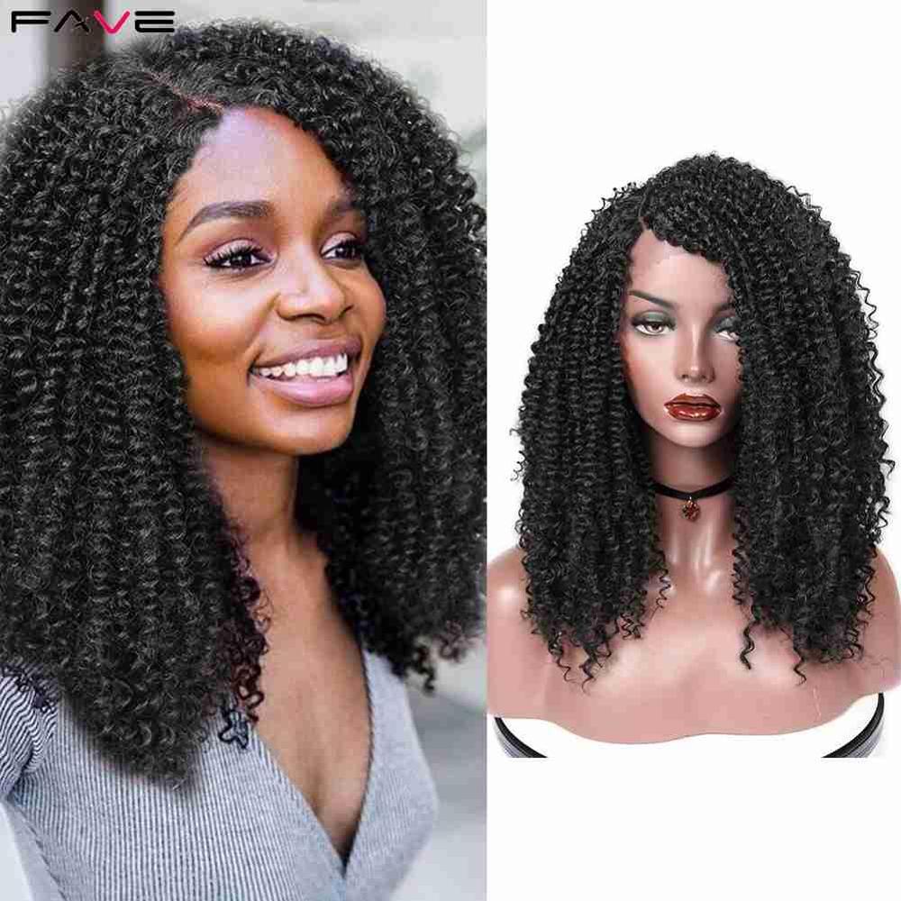 Fave curto kinky encaracolado frente do laço 9*1.4 parte lateral profunda ombro comprimento l parte perucas sintéticas fibra resistente ao calor para mulher