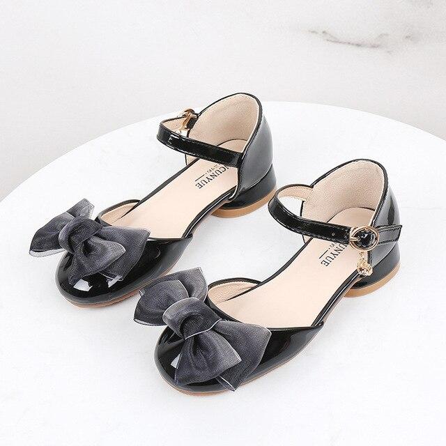 New Children Kids Girls Princess Sandals High Heels Leather Shoes Wedding Bowtie Dress