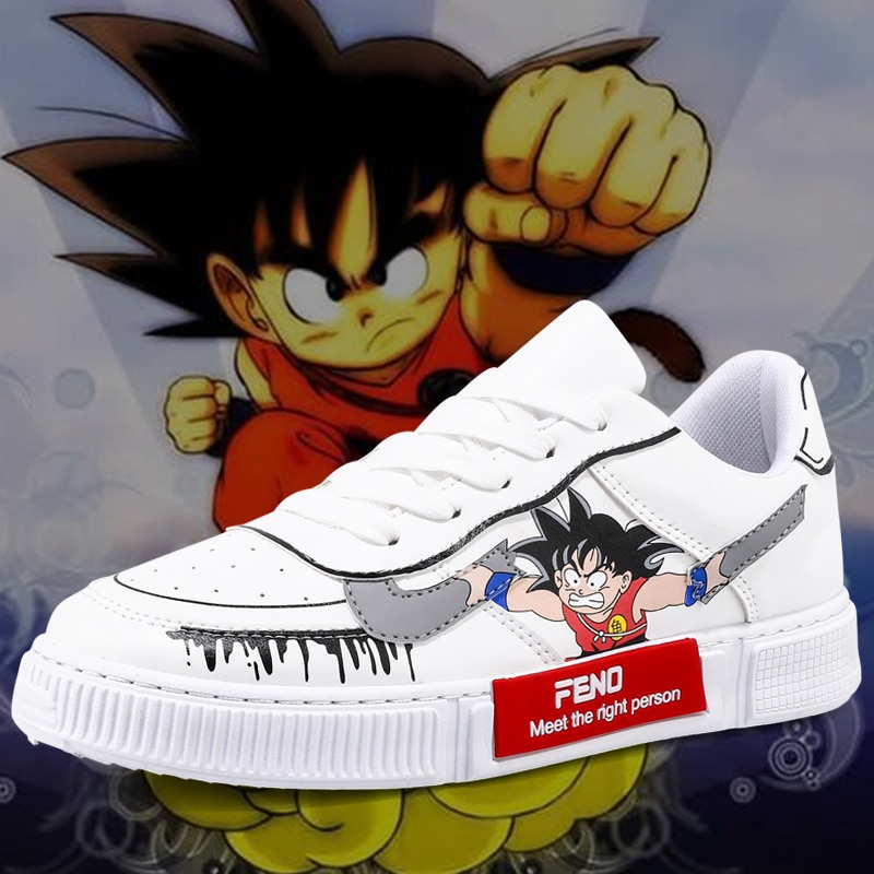 Couples Shoes Low Top Goku Shoes Leather Casual Lace Up Men Sneakers Rubber Outdoor Men Footwears Wo