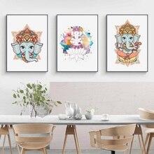 Style religieux tête déléphant dieu hindou seigneur Ganesh toile peinture affiches et impressions photos murales pour décor de salon