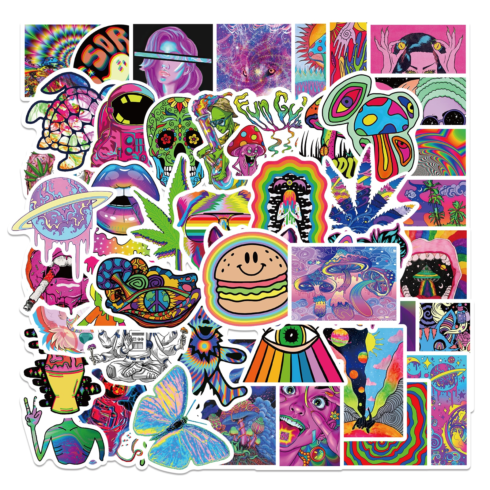 AliExpress - 25/52PCS Cartoon Colorful Psychedelic Trippy Stickers Aesthetics Laptop Guitar Luggage Phone Graffiti Sticker Decal Kid Toy