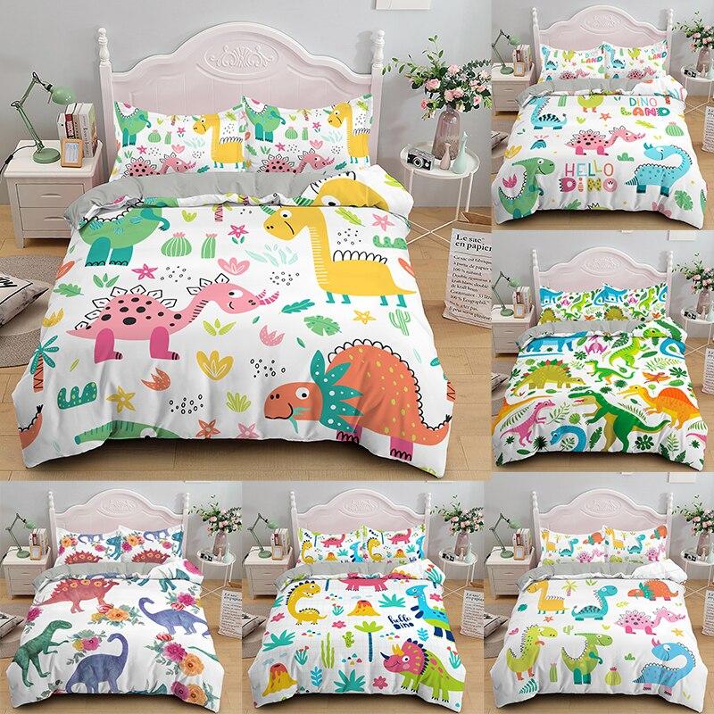 Dinossauro de luxo impresso casa vivendo 2/3 pçs confortável conjunto capa edredão fronha conjuntos cama único gêmeo duplo rainha rei
