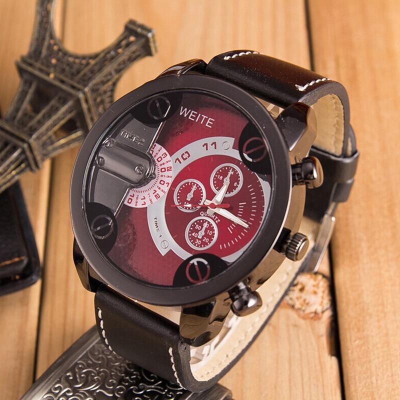 Fashion Geneva Men Date Alloy Case Synthetic Leather Analog Quartz Sport Watch Male Clock Top Brand