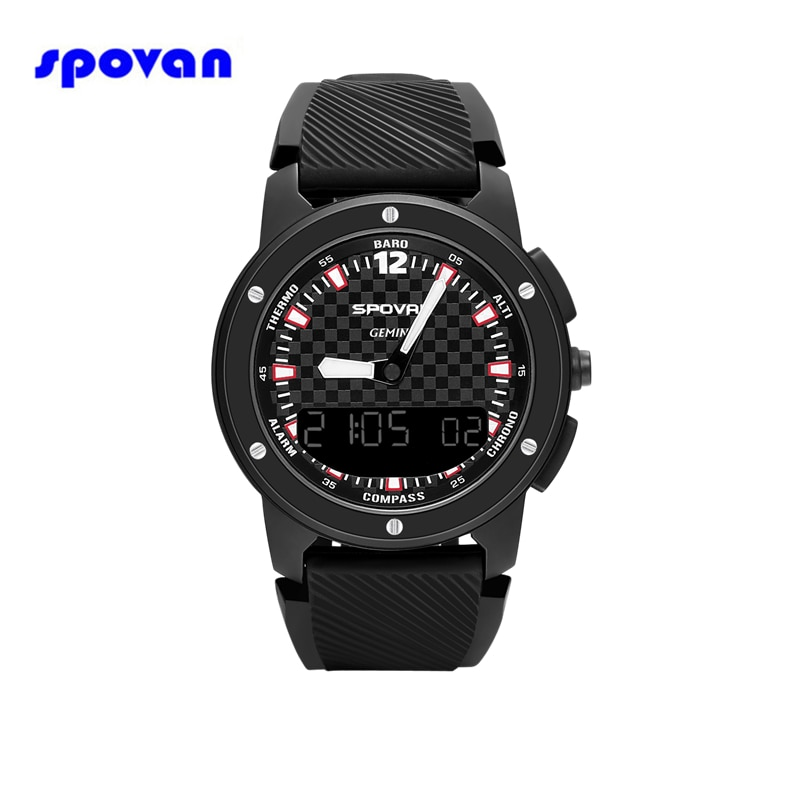 SPOVAN Fashion Watch Man Waterproof Digital Barometer Altimeter Thermometer Compass Stopwatch Sport Wristwatch Relogio Masculino