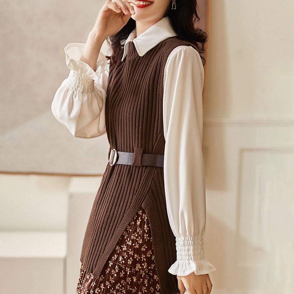 Jesienna damska kamizelka z dzianiny nowy 2021 modny cały mecz Split japoński koreański styl dzianinowy Top damski sweter bez rękawów