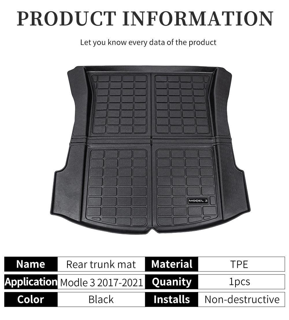 Upgrade New Model3 2021 Trunk Mat For Tesla Model 3 Accessories Car TPE Waterproof Protective Pads Cargo Trunk Tray Floor Mats enlarge