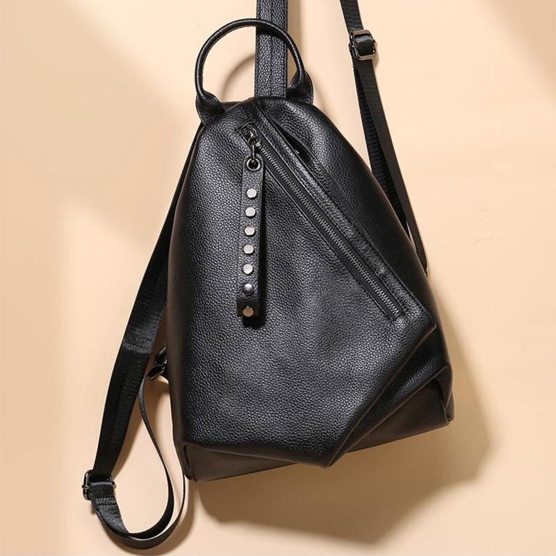 Женские дизайнерские рюкзаки, модная женская сумка через плечо из натуральной кожи, черные дорожные школьные сумки, высококачественный рюк...