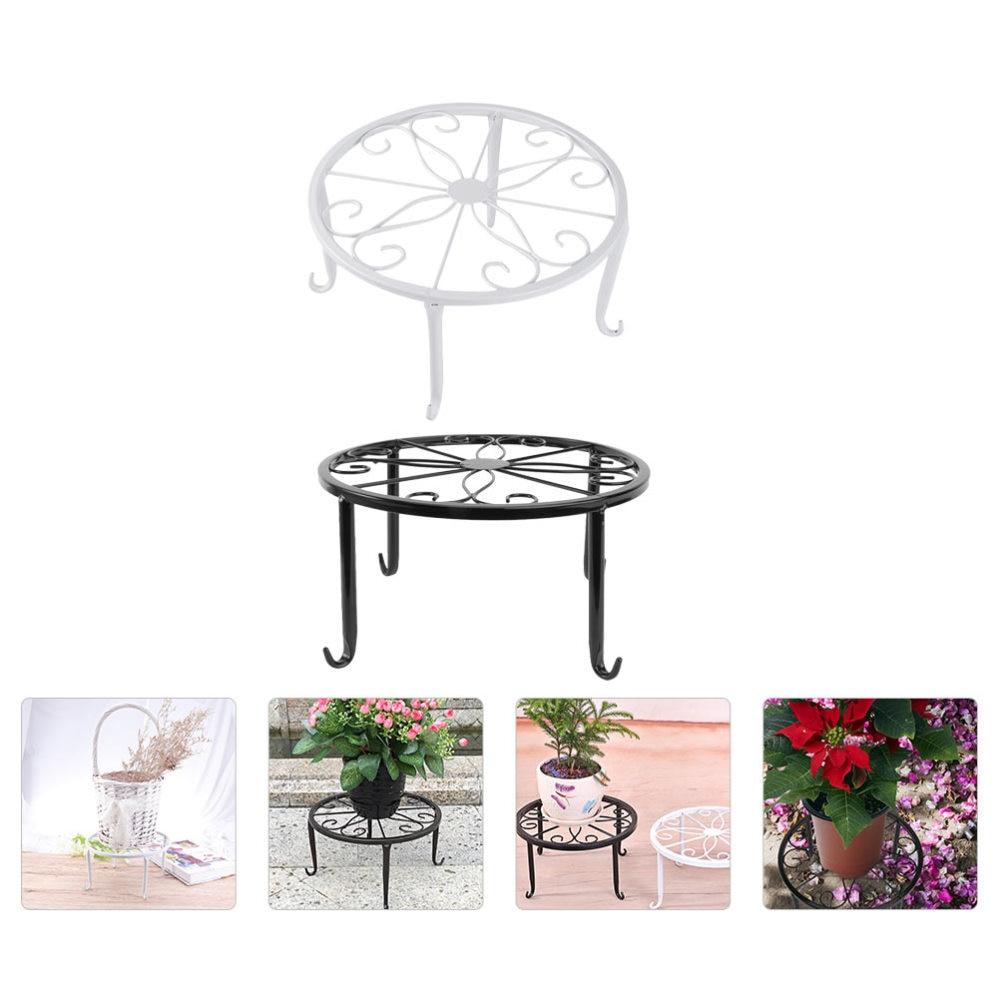 2Pcs Classic Iron Flower Stand Flower Pot Stand Indoor Flower Pot Stand Decor
