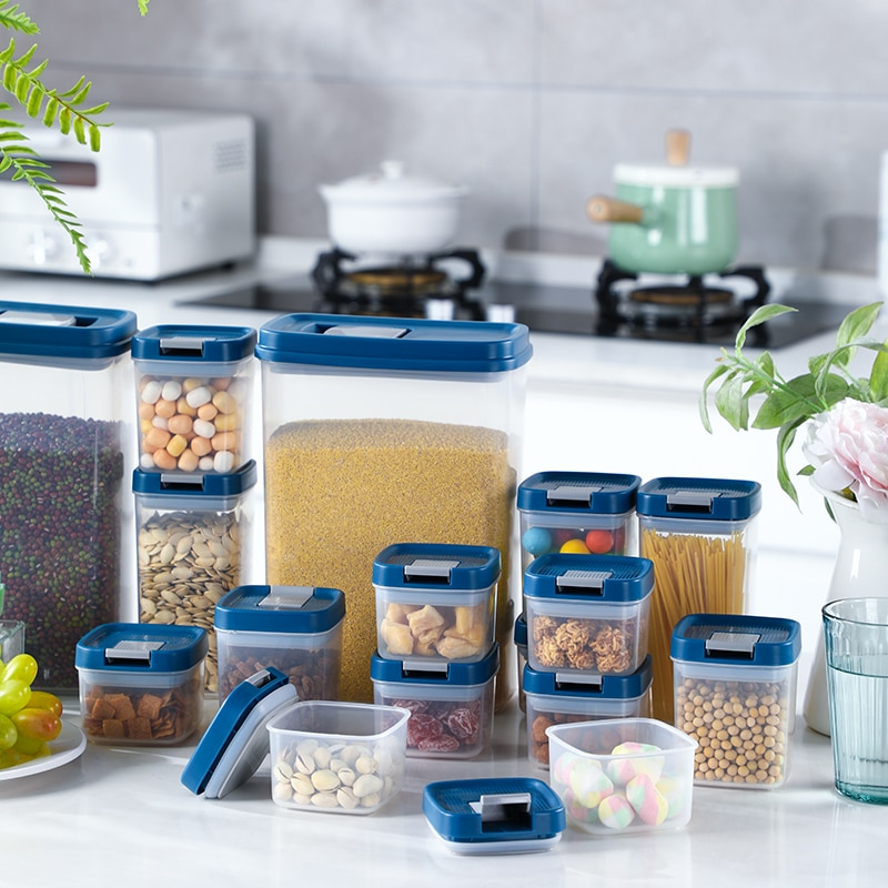 Food Storage Container 6 PCS Different Capacity Box Suit For Kitchen Refrigerator Nut Noodle Multigrain Sealed Cans JX88