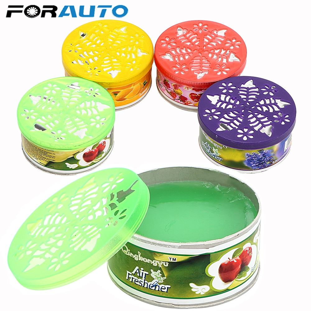 FORAUTO 70g Fruit Flower Solid Car Air Freshener Indoor Home Bathroom Car Auto Decor Scent Deodorizing Fragrance Diffuser