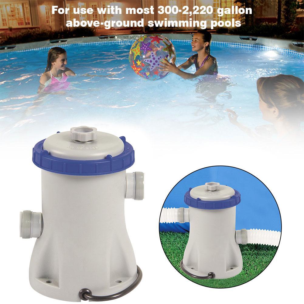 Bomba de filtro para piscinas, bomba de filtro para piscina, cartucho de filtro transparente, perfecto para piscinas sobre el suelo