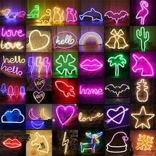 Letrero de luz LED de neón para decoración del hogar, lámpara colgante de pared, arte, regalo de cumpleaños y Navidad, venta al por mayor