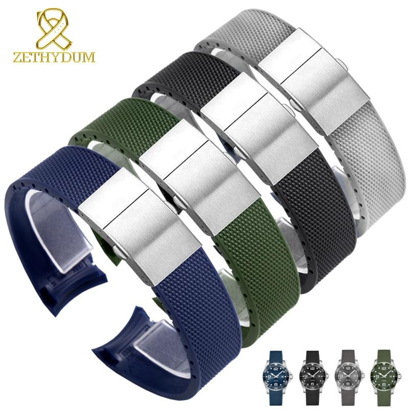 Correa de reloj de goma 21mm para l-ongines L3.742/644 correa de reloj de buceo correa de reloj de extremo curvado pulsera de silicona impermeable reloj verde