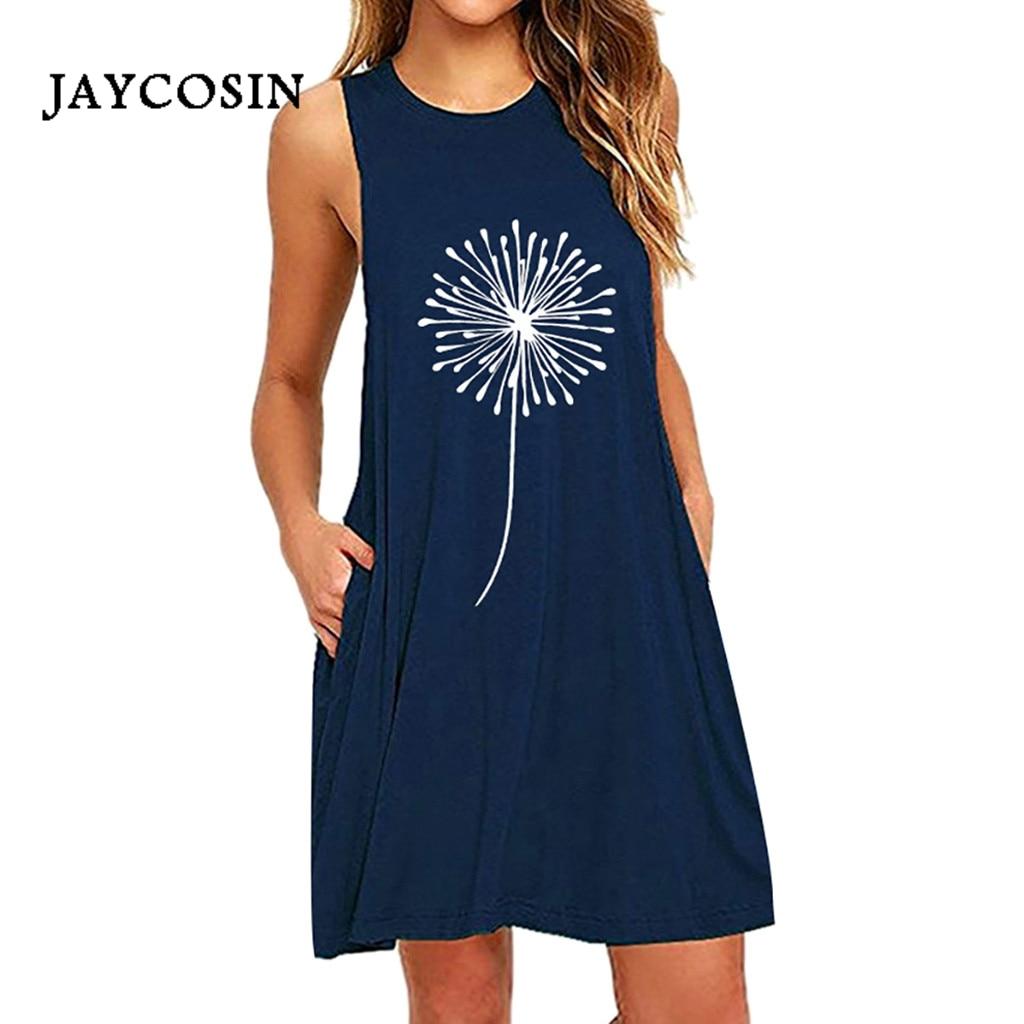 Jaycosin 4XL 5XL 6XL Vestidos para mujeres Casual Dandelions imprimir bolsillos boho vestido sin mangas mujer Vestidos vestido de verano