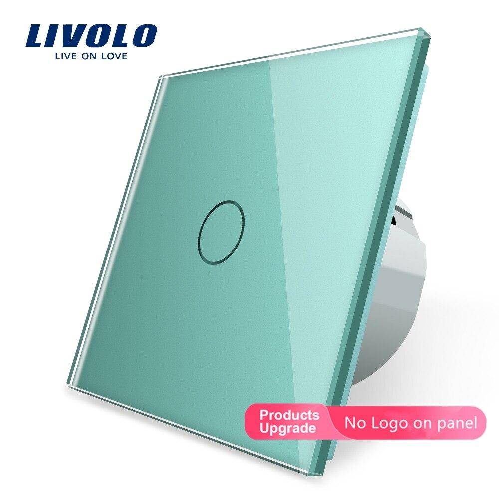 Livolo-interrupteur de luxe en verre cristal blanc   Interrupteur mural, interrupteur tactile, Standard européen, interrupteur mural à écran tactile 220 ~ 250V