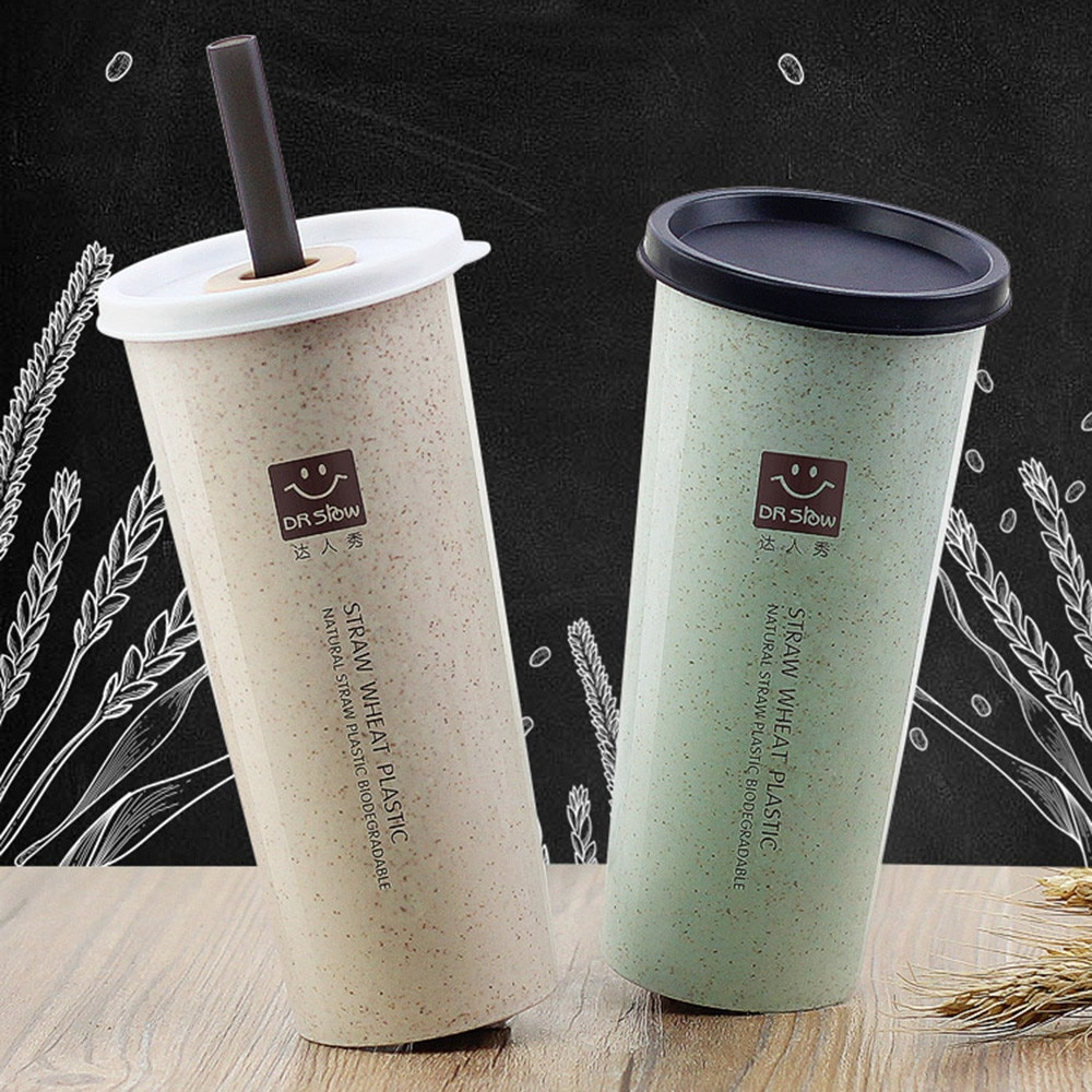 Hot Travel Office Coffee Tea Student Straws Water Bottle Cups Straw Wheat Cup Outdoor Travel Portabl