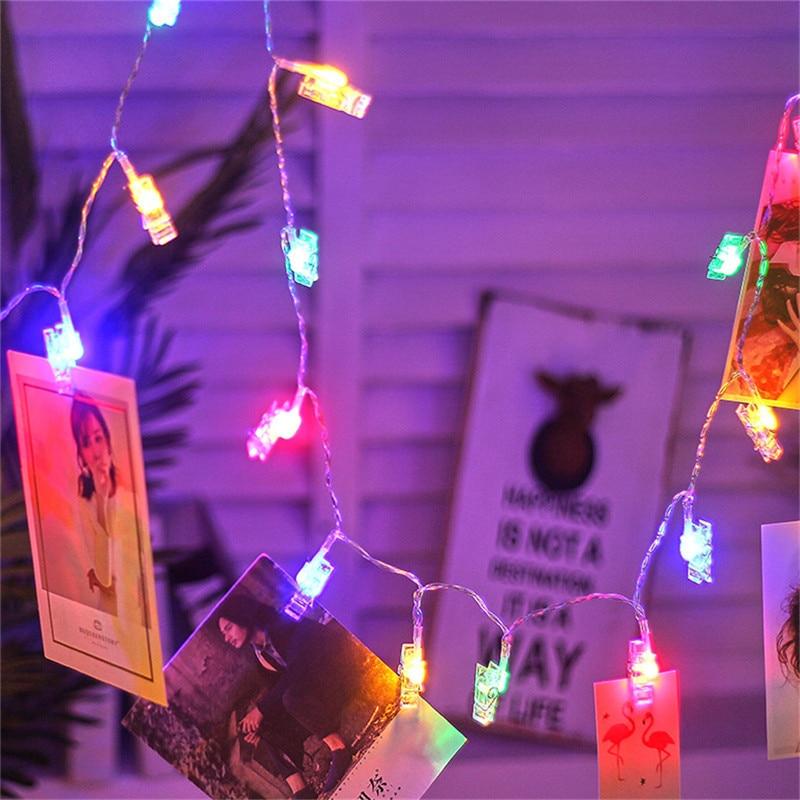 LED Garland tarjeta foto Clip cadena luces decoración de hadas luz Navidad hogar DIY Clothespin formas batería operado lámpara de Navidad