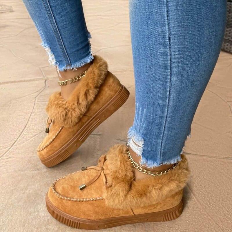 Sapatos de Pele Mocassins de Pelúcia Inverno Casual Feminino Bonito Bowknot Trending Macio Peludo Deslizamento-em Tênis Senhoras Plataforma Plana 2021