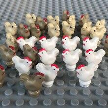10 Stks/set Stad Accessoires Farm Animal Bouwstenen Kippen Haan Kip Ei Moc Baksteen Kinderen Diy Speelgoed Gift