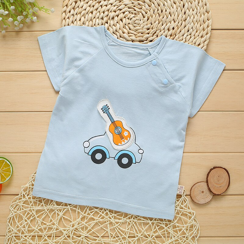 Summer 0-12 Months Newborn Boy Girl Cartoon Patch T-shirt Bamboo Fiber Cotton T-shirts  Thin Tshirt Infant Baby Clothes