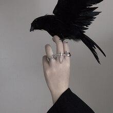 HZ Hip Pop Vintage Metal Punk Chain Cross Open Rings Belt Buckle Design Finger Rings for Women men Party Jewelry Gifts