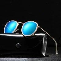 retro round polarized sunglasses men metal frame brand designer polaroid sun glasses women black lens uv400 eyewear driving