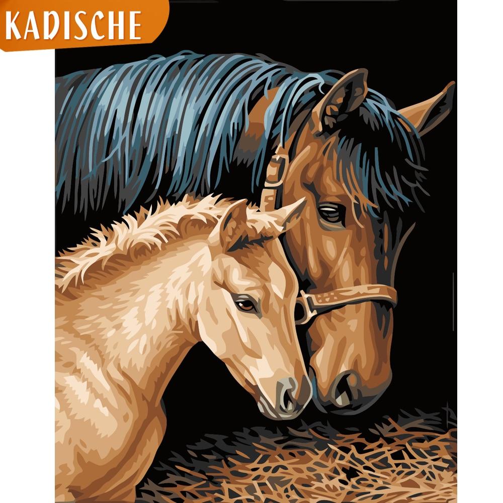 KADISCHE pintura por números paisaje DIY pintura al óleo por números lienzo de caballo pintura imágenes artísticas decoración del hogar