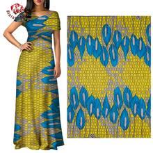Tissu africain Ankara jaune et bleu motif tissu Polyester doux de haute qualité 6 yards/lot tissu africain pour robe de soirée FP6312