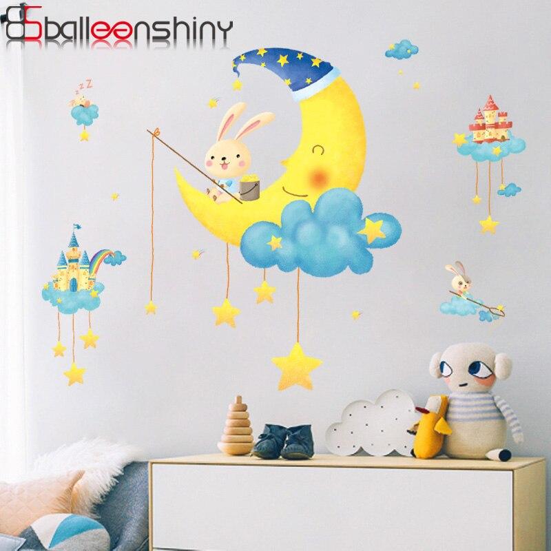 Balleenshiny diy dos desenhos animados coelhos animais estrelas adesivos de parede nuvens estrelas lua para quarto dos miúdos do bebê quarto berçário decoração para casa