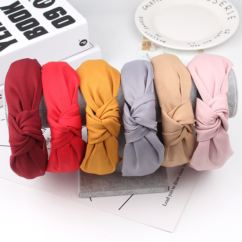 2021 Simple Cloth Headband Cross Cotton Soft Bow Knot Turban Hairband Comfortable Solid Seaside Girl
