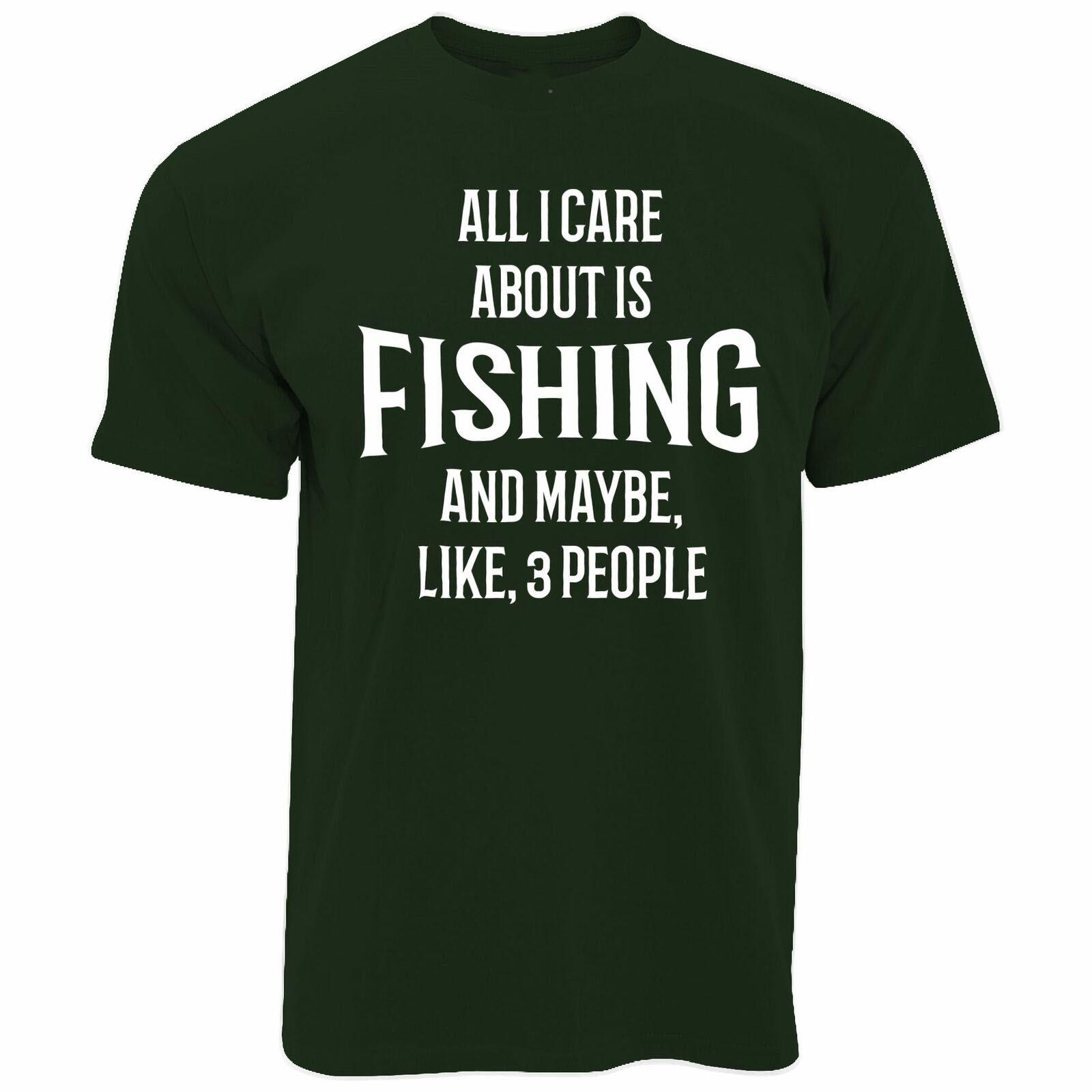 Broma T camisa de los hombres las mujeres todo lo que me importa es la pesca y 3 personas Hobby pescado divertido camiseta Rod camisa moda Estilo clásico