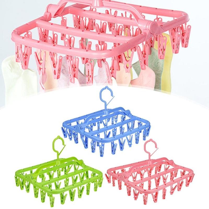 32/16 Clips Portable Socks Cloth Hanger Rack Folding Drying Storage Holder