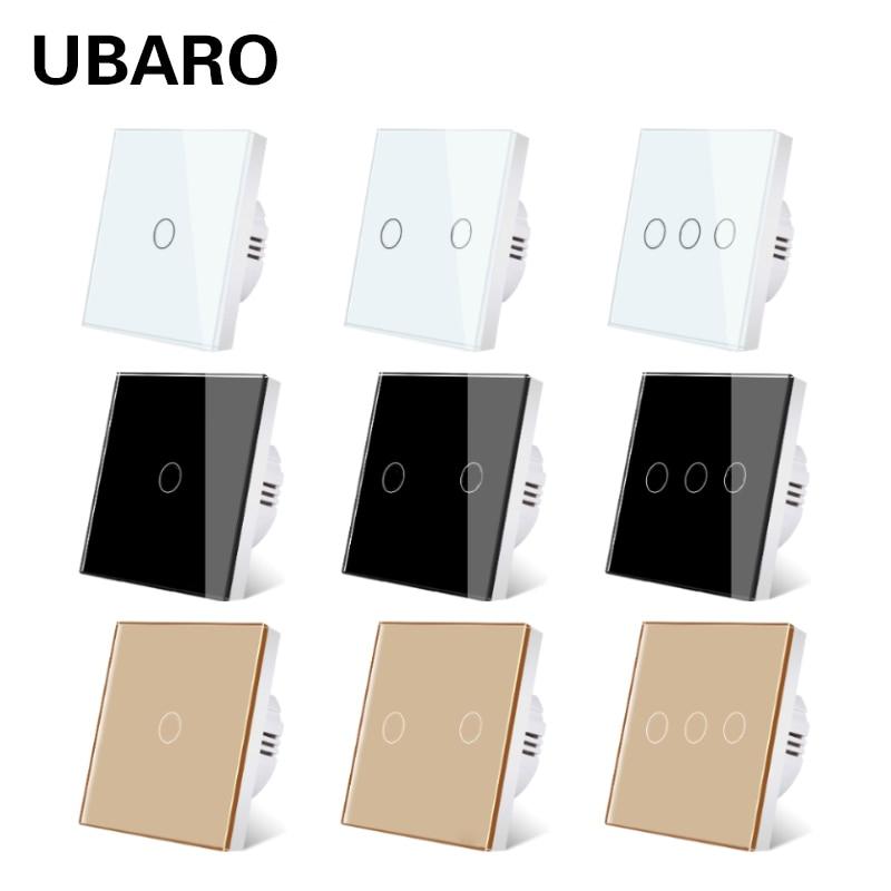 AliExpress - UBARO EU/UK Standard Crystal Tempered Glass Wall Panel Light Touch Switch Led Indicator Sensor Button Switches 1/2/3Gang 220V