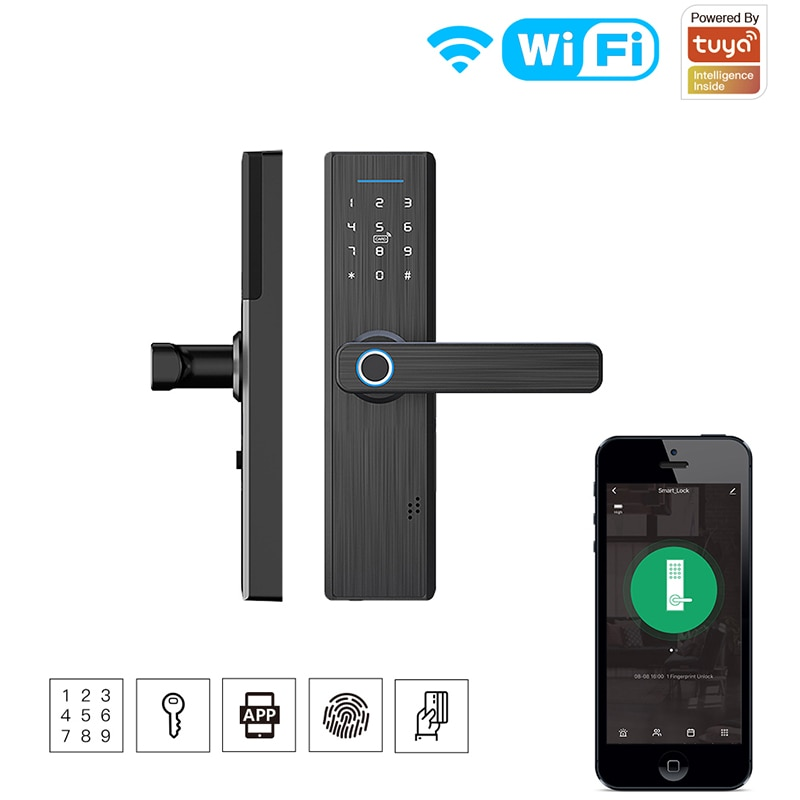 Get Tuya WiFi Multiple Unlocking Fingerprint Lock Security Smart Lock  Smart Life APP Remote Control Password RFID Door Lock