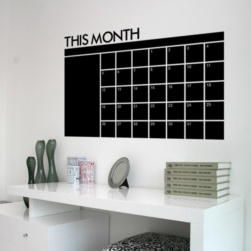 60x92 cm mês calendário quadro quadro quadro removível planejador adesivos de parede placa preta escritório escola vinil decalques adesivo 2020
