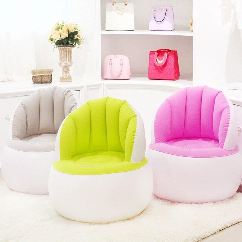 Niños/adultos hogar al aire libre inflable sofá redondo flocado sillas de aire de PVC soplar sofás perezosos con bomba de pie