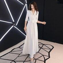 White Women Suit Skirt Bowknot Cheongsam Elegant Evening Party Dress V-neck Half Sleeve Female Qipao Floor Length Maxi Gown