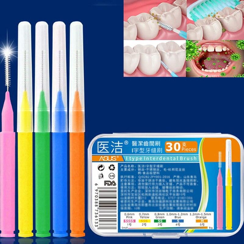Hot 30Pcs/lot Interdental Brush Dental Floss Teeth Oral Clean Hygiene Toothpick Teeth Brush Oral Care Tool