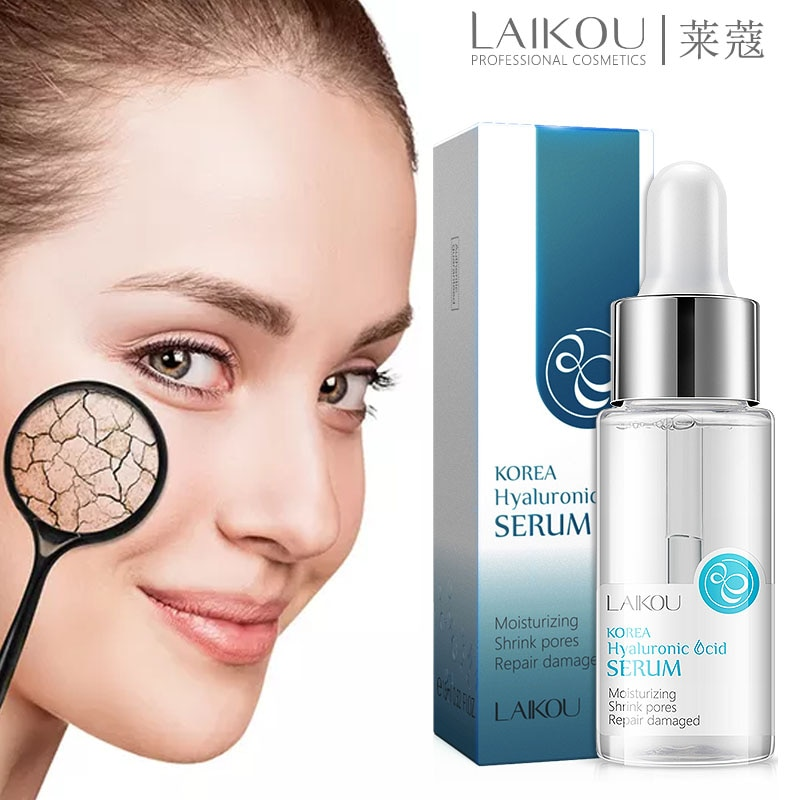 LAIKOU Face Serum Hyaluronic Acid Moisturizing Facial Essence liquid Shrink pores Whitening Brightening Tighten Face Skin Care недорого